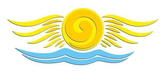 sun Logo with wings and the seas.