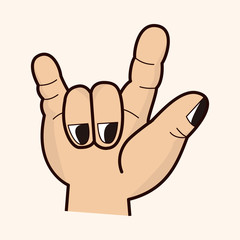rock style hand gesture theme elements