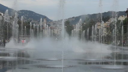 Lovely fountain on Place Massena in city of Nice, France.