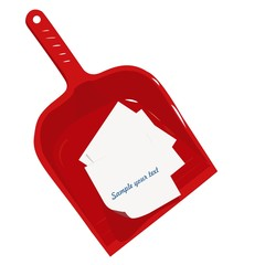 Red plastic scoop and sticker