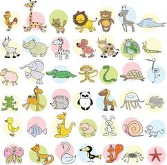 Вектор детские рисунки различных животных