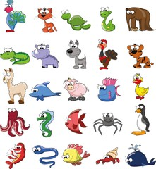 Большой набор мультфильм каракули животных, вектор