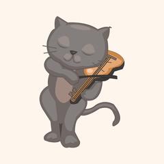 animal cat playing instrument cartoon theme elements
