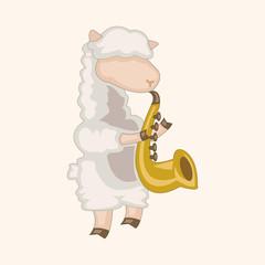 animal sheep playing instrument cartoon theme elements