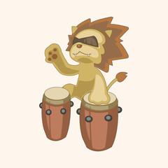 animal lion playing instrument cartoon theme elements