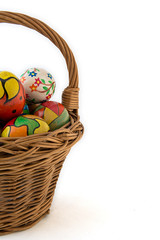 hand painted eggs in a basket