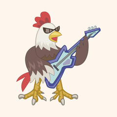 animal cock playing instrument cartoon theme elements