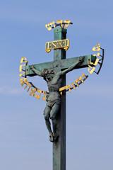 "Чехия. Прага. Скульптура ""Голгофа"" на Карловом мосту"