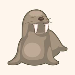 animal sea lion cartoon theme elements