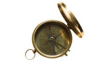 Compass. Golden vintage compass