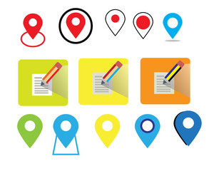 Map icon and Location Icons and pencil vector