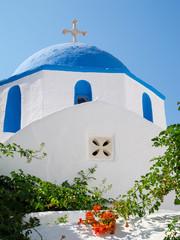 Paros blue domed church, Greece.