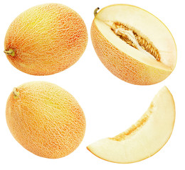 set of melons isolated on the white background