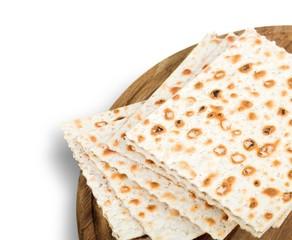 Meal. Matzo for passover seder celebration on white background
