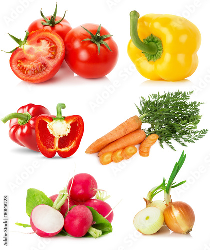 Fotobehang Keuken collection of vegetables isolated on the white background