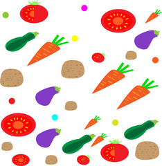Vector seamless pattern with different vegetables