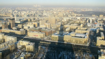 Aerial view in the morning of city with traffic, timelapse