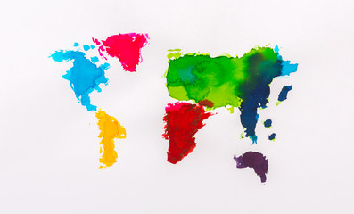 Water color map of the world on white paper