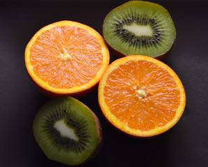 orange and kiwi cut in half