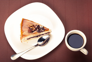 walnut cake and a cup of coffee
