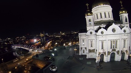 Traffic near Patriarshiy bridge and Christ the Saviour Cathedral
