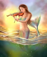 beautiful fantasy mermaid plays  on  violin on  sunset