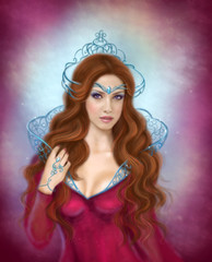 Beautiful woman queen portrait Fantasy illustration