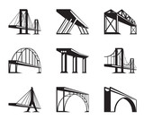 Fototapety Different bridges in perspective - vector illustration