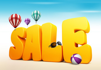 3D Dimensional Sale Title Words for Summer in White Background