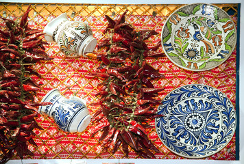 Artistic traditional folk art objects and red hot spicy organic