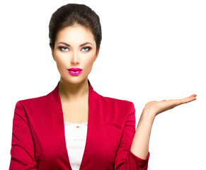 Business woman showing empty copyspace on the open hand palm