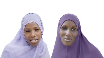 Mother and daughter wearing a veil, isolated