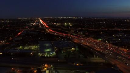 Los Angeles Aerial Freeway Interchange Dusk