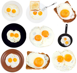 set from fried eggs isolated on white