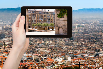 tourist photographs of square in Marseilles city