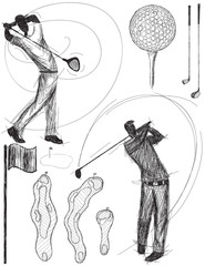 Golfer swinging doodles