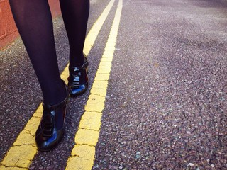 walking on the yellow line