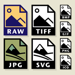 File format or file extension icons set, vector