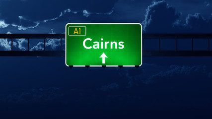 Cairns Australia Highway Road Sign at Night