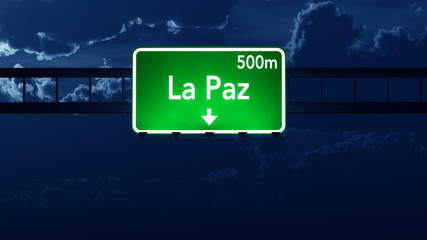 La Paz Bolivia Highway Road Sign at Night