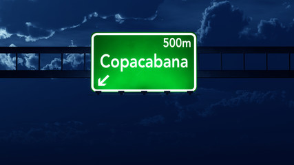 Copacabana Brazil Highway Road Sign at Night