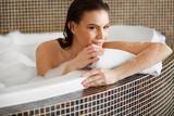 Beautiful Woman Takes Bubble Bath.