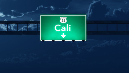 Cali Colombia Highway Road Sign at Night