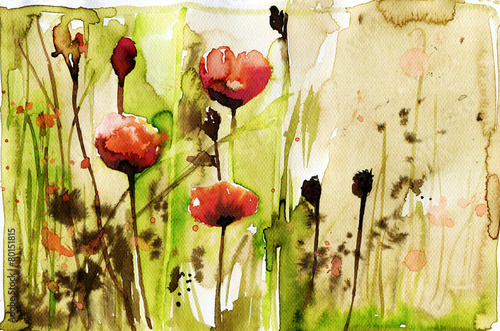 Foto op Canvas Schilderkunstige Inspiratie watercolor illustration depicting spring flowers in the meadow