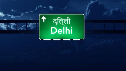 Delhi India Highway Road Sign at Night