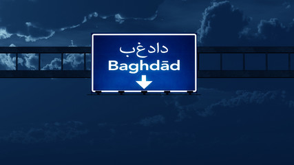 Baghdad Iraq Highway Road Sign at Night