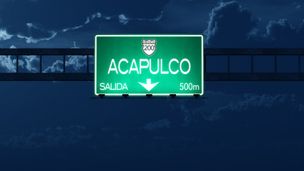 Acapulco Mexico Highway Road Sign at Night
