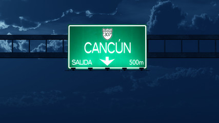 Cancun Mexico Highway Road Sign at Night