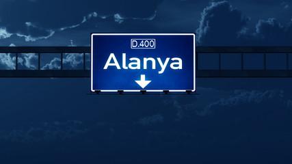 Alanya Turkey Highway Road Sign at Night