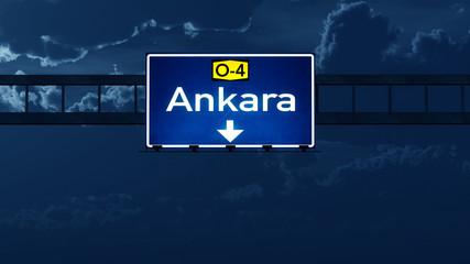Ankara Turkey Highway Road Sign at Night